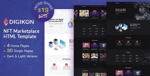 Digikon - NFT Digital Asset Marketplace HTML Template - Technology Site Templates