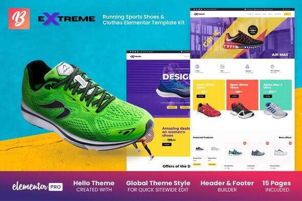 Extreme - Running Sports Shoes & Clothes Elementor Template Kit - Shopping & eCommerce Elementor
