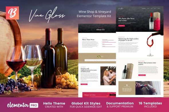 Vine Gloss - Wine Shop & Vineyard Elementor Template Kit - Food & Drink Elementor