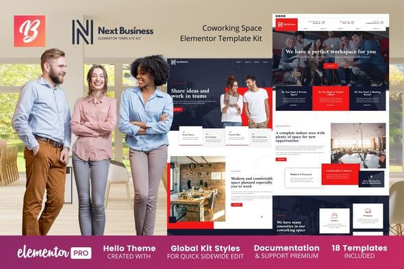 Next Business - Coworking Space Elementor Template Kit - Business & Services Elementor