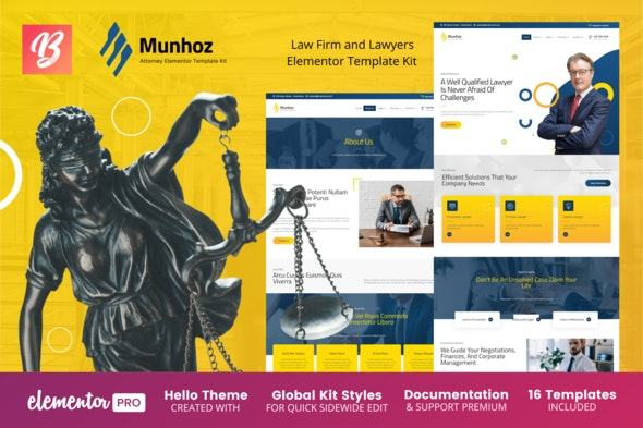 Munhoz - Law Firm & Attorneys Elementor Template Kit - Finance & Law Elementor