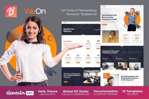 WeOn - Call Center & Telemarketing Elementor Template Kit - Business & Services Elementor