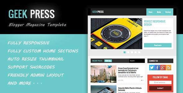Geek Press - Responsive News & Magazine Blogger Template - Blogger Blogging