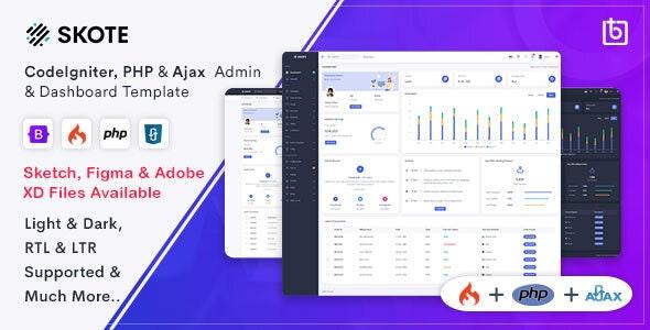 Skote - CodeIgniter, PHP & Ajax Admin Dashboard Template - Admin Templates Site Templates