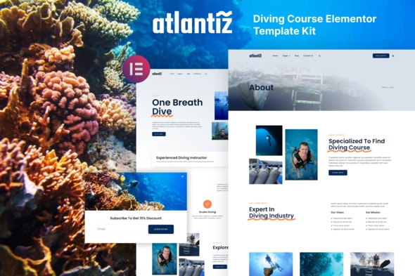 Atlantiz - Diving School Elementor Template Kit - Travel & Accomodation Elementor