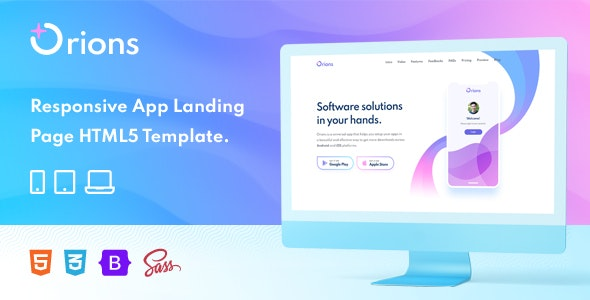 Orions – Responsive App Landing Page HTML Template - Software Technology