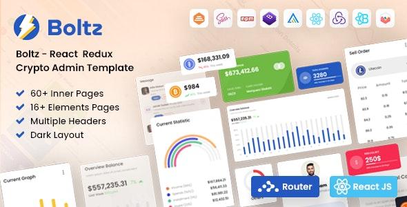 Boltz - React Crypto Admin and Dashboard Template - Admin Templates Site Templates