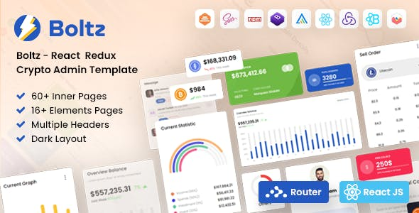 Boltz - React Crypto Admin and Dashboard Template
