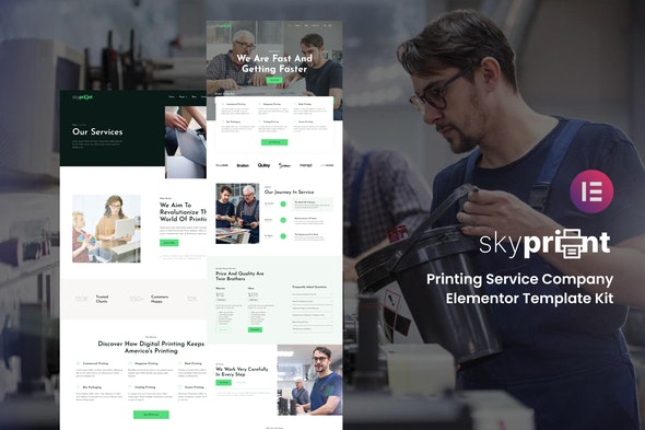 Skyprint - Printing Service Company Elementor Template Kit - Business & Services Elementor
