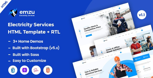 Emzu - Power & Electricity Services HTML Template - Business Corporate