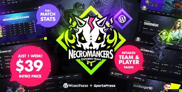 Necromancers - eSports & Gaming Team WordPress Theme free Download