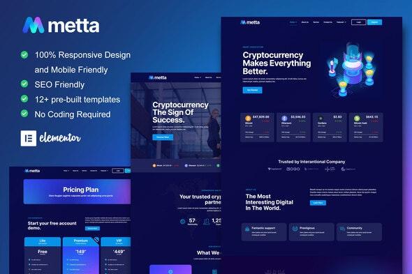 Metta - Cryptocurrency Blockchain & Bitcoin Elementor Template Kit - Technology & Apps Elementor
