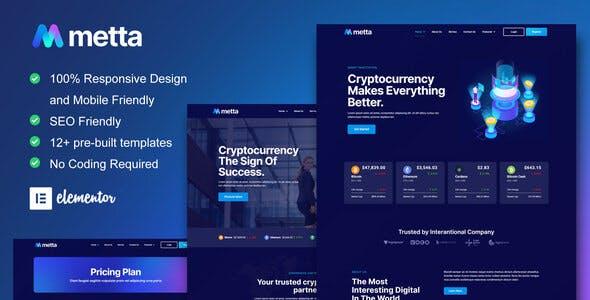Metta - Cryptocurrency Blockchain & Bitcoin Elementor Template Kit