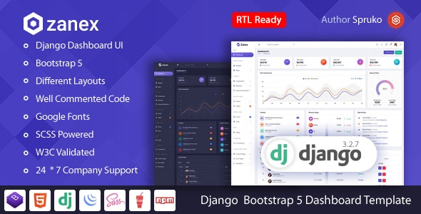 Zanex – Django Bootstrap 5 Dashboard Template - Admin Templates Site Templates