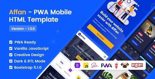 Affan v1.3.0 – PWA Mobile HTML Template