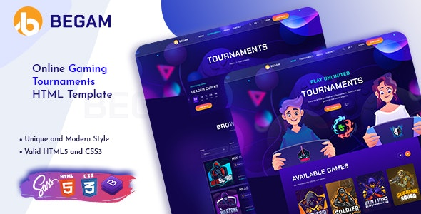 Begam - Online Gaming Tournaments HTML Template - Entertainment Site Templates