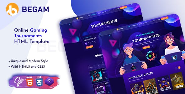 Begam - Online Gaming Tournaments HTML Template