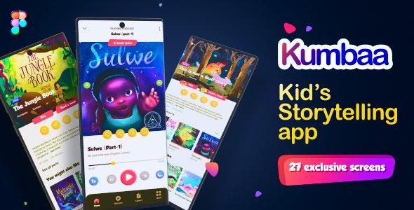 Kumbaa   28 Screens Kid's Storytelling Mobile UI Template - Children Retail