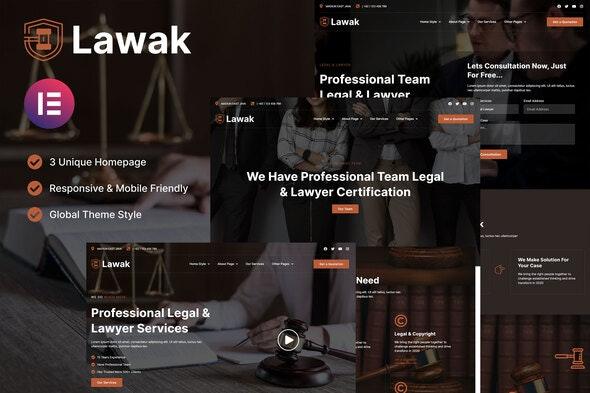 Lawak - Legal & Lawyer Services Elementor Template Kit - Business & Services Elementor
