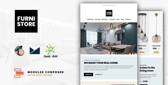 Furnistore - E-Commerce Responsive Furniture and Interior design Email with Online Builder