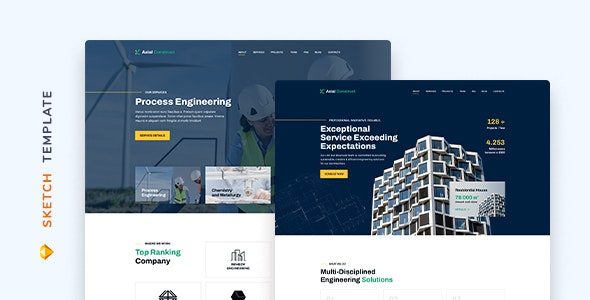 Axial – Construction Company Template for Sketch - Corporate Sketch