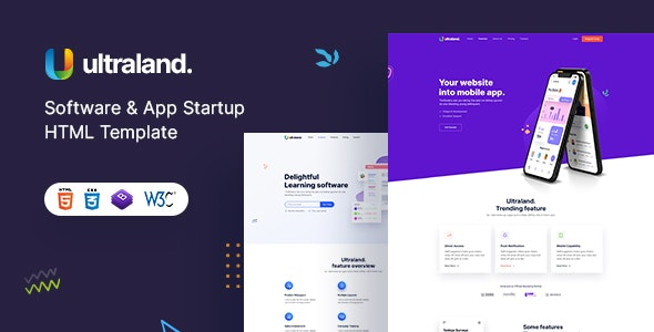 Ultraland – Software & App Startup HTML template - Technology Site Templates