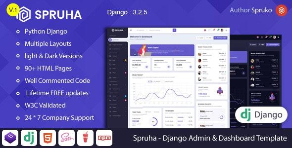 Spruha - Django Admin & Dashboard Template - Admin Templates Site Templates