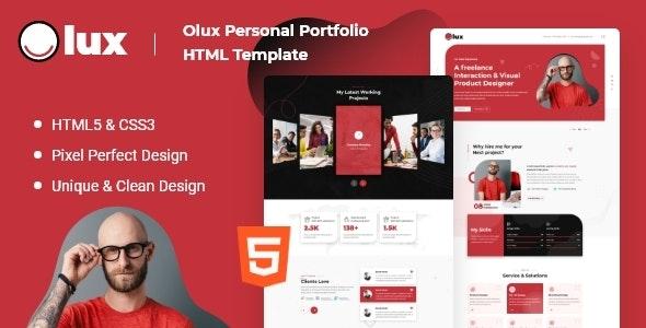 Olux – Creative Personal CV/Resume Portfolio HTML Template - Virtual Business Card Personal
