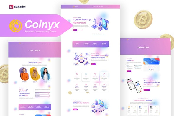 Coinyx - Cryptocurrency Blockchain & Bitcoin Elementor Template Kit - Technology & Apps Elementor