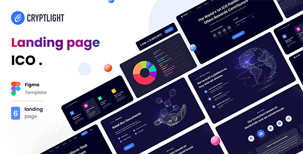 Cryptlight - ICO Landing Page Figma Template - Technology Figma
