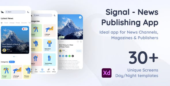 Signal | News Publishing App Xd Template