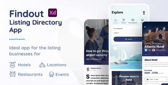 Findout - Listing Directory App Xd Template - Adobe XD UI Templates