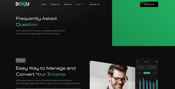 DOQU – Dark Digital Bank & E-Wallet Elementor Template Kit