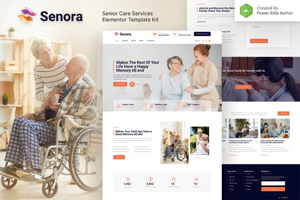 Senora – Senior Care Services Elementor Template Kit - Health & Medical Elementor