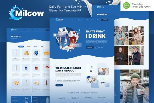 Milcow – Dairy Farm & Eco Milk Elementor Template Kit - Food & Drink Elementor