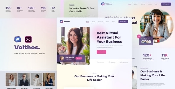Voithos - Virtual Assistant Website Template for Adobe XD - Business Corporate