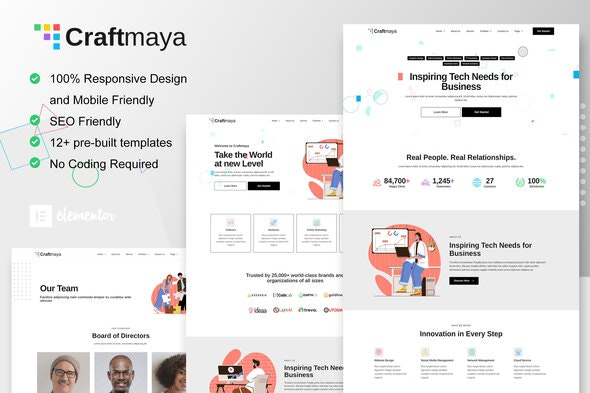CraftMaya - IT Solutions & Services Company Elementor Template Kit - Technology & Apps Elementor
