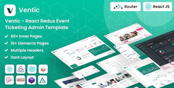 Ventic - React Redux Event Ticketing Admin Template - Admin Templates Site Templates