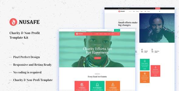 Nusafe - Charity & Non-Profit Elementor Template Kit