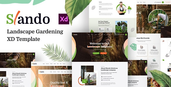 Slando  - Landscape Gardening XD Template - Corporate Adobe XD