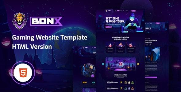 Bonx - Gaming Website Template HTML5 Version - Entertainment Site Templates