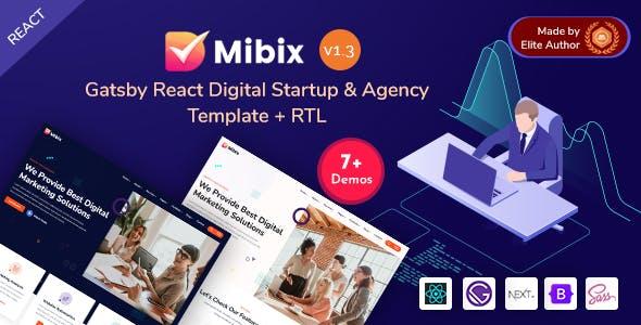 Gatsby NextJS Digital Startup & Agency React Template - Mibix