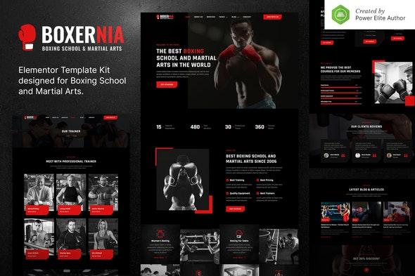 Boxernia – Boxing School & Martial Arts Elementor Template Kit - Sport & Fitness Elementor