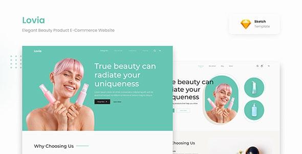 Lovia - Elegant Beauty Product E-Commerce Website Sketch - Health & Beauty Retail