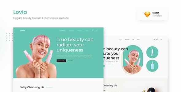 Lovia - Elegant Beauty Product E-Commerce Website Sketch