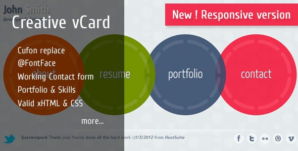 Circlus - Personal Portfolio&vCard HTML5&CSS3 Theme - Virtual Business Card Personal