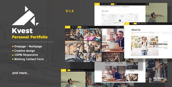 Kvest - Creative  Responsive Personal  Portfolio - Personal Site Templates