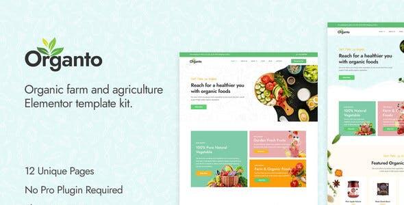 Organto - Organic Food Elementor Template Kit