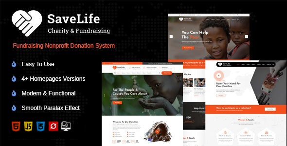 Savelife   Charity & Donation HTML Template - Nonprofit Site Templates