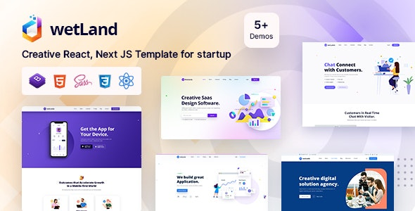 Wetland - Multi Purpose React Next JS Template for Startup - Technology Site Templates